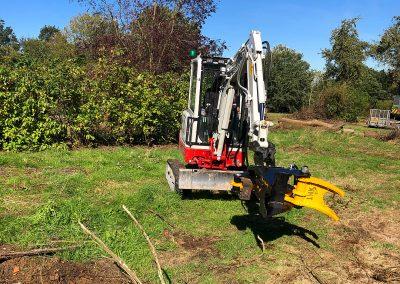 TMK200 tree shear on compact excavator